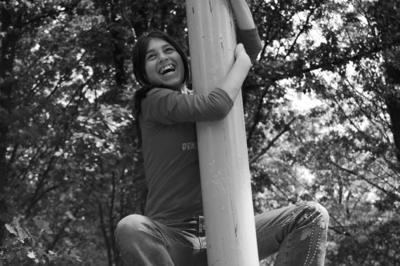 Climbing pole in the traditional Games garden